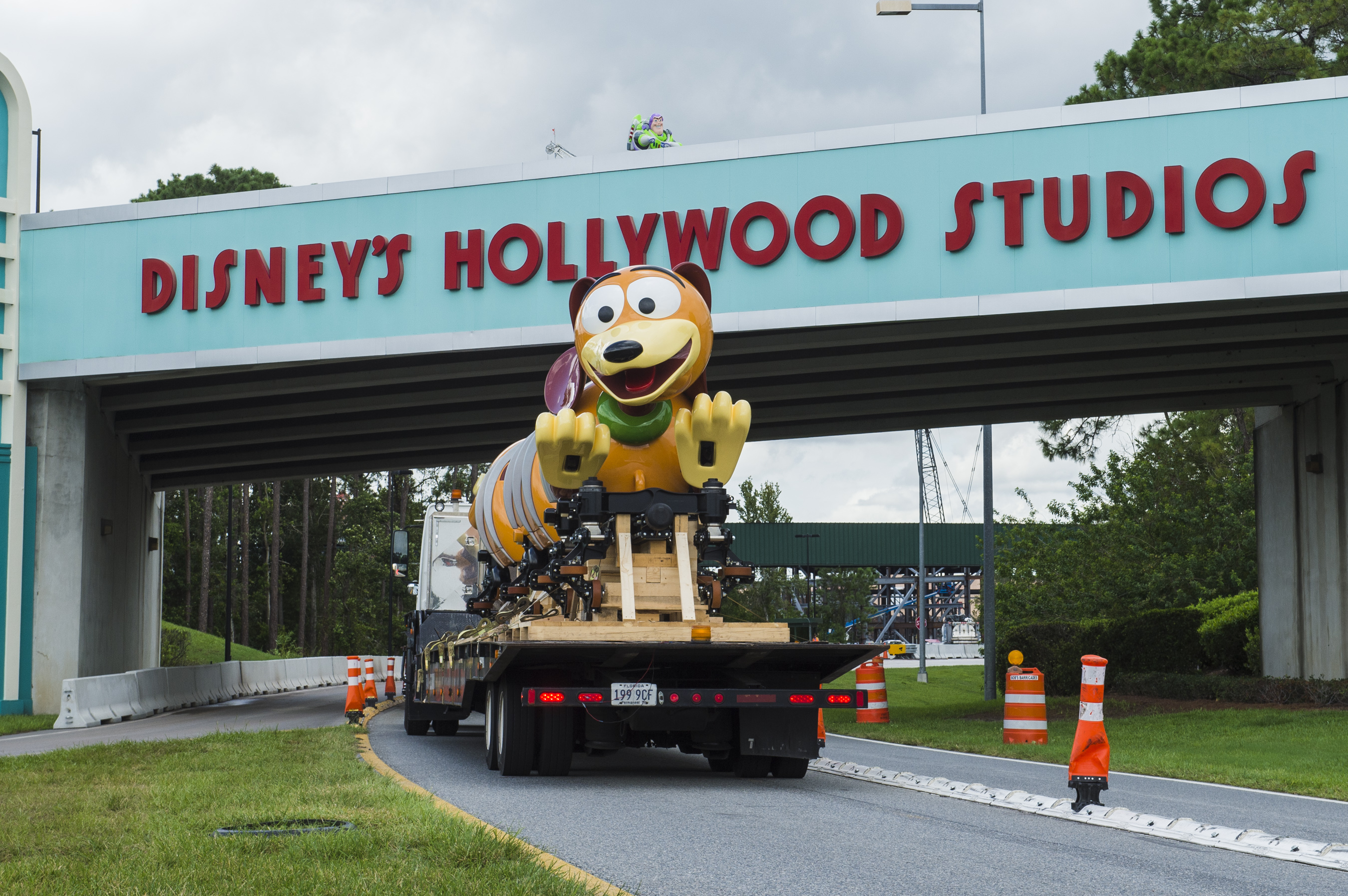 The first Slinky® Dog Dash ride vehicle arrives at Disney's Hollywood Studios at Walt Disney World, soon to be an attraction in Toy Story Land.